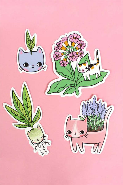 Plant Kitty Vinyl Stickers by ponyponypeoplepeople