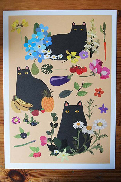 Black Cat with Flowers, Fruit & Veg Art Print by I like cats