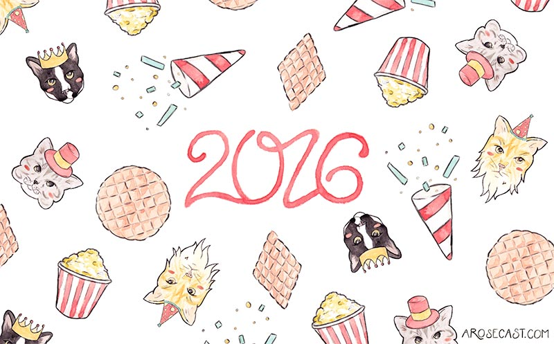 Cat-Themed Celebration Wallpapers for the New Year / January 2016 by A Rose Cast