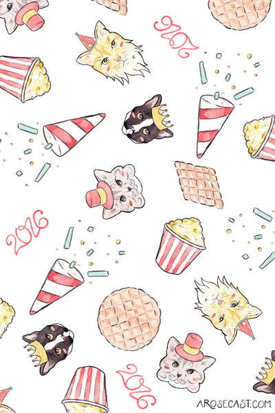 Freebie Project // Cat-Themed Celebration Wallpapers for the New Year / January 2016