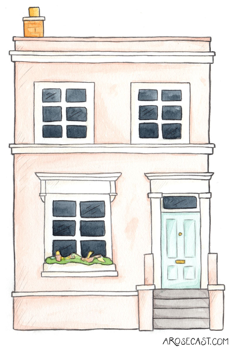 Downloadable Digital Wallpaper of a Watercolour Illustration of a Pastel Notting Hill House