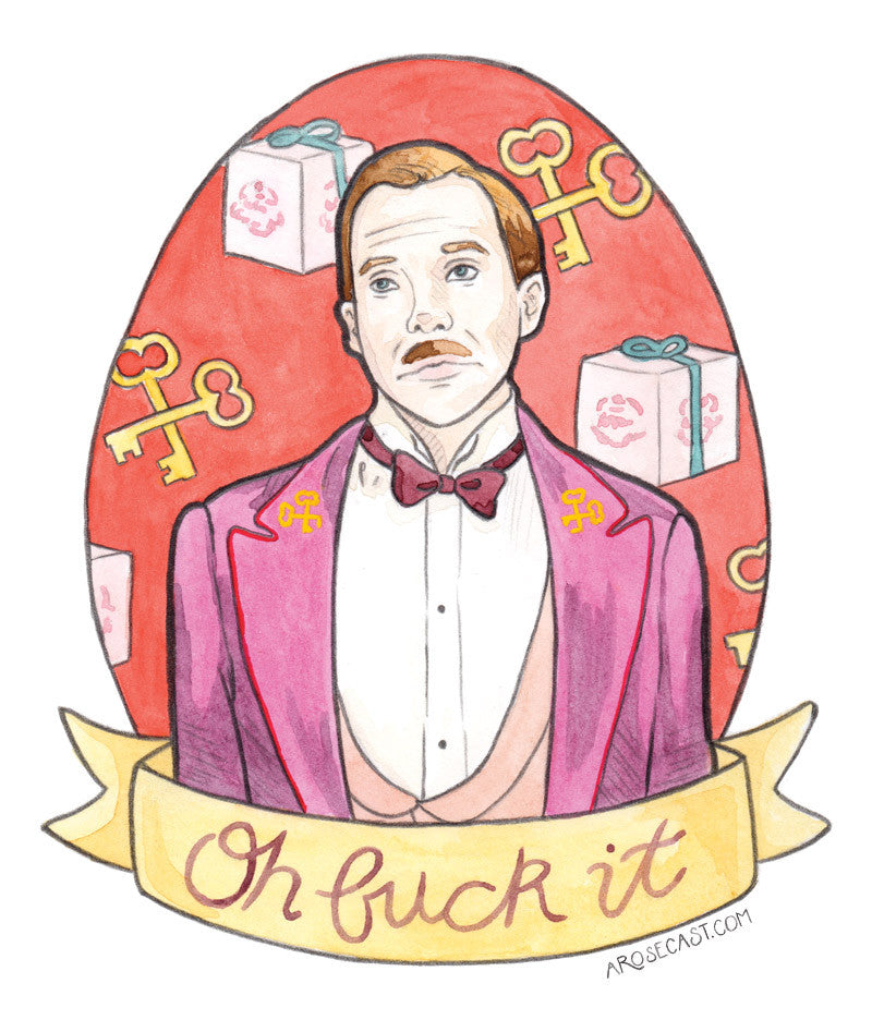 M. Gustave H. from Wes Anderson's Grand Budapest Hotel Fan Art Watercolour Illustration