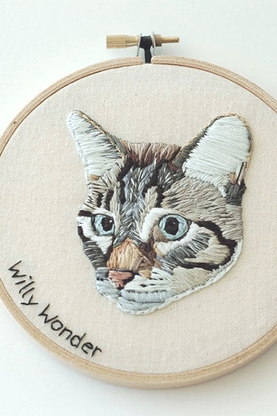 Hand Embroidered Cat (or Dog) Portrait by HOOPLASTITCH