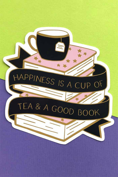 Happiness Is A Cup Of Tea & A Good Book Sticker