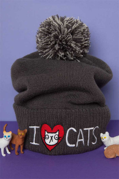 I Love Cats Embroidered Beanie Bobble Hat