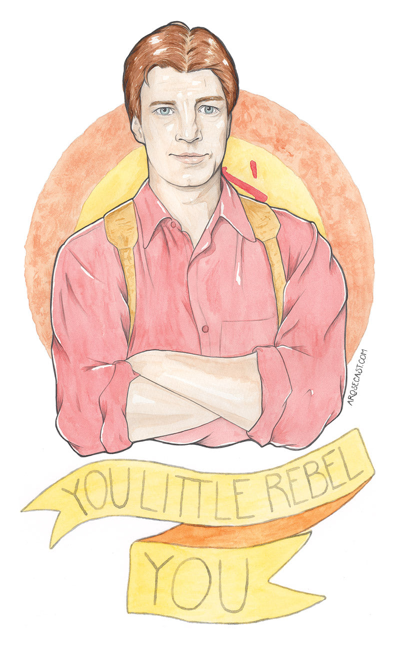 Watercolour Fan Art Greeting Card of Malcolm 'Mal' Reynolds of Joss Whedon's classic sci-fi/western Firefly