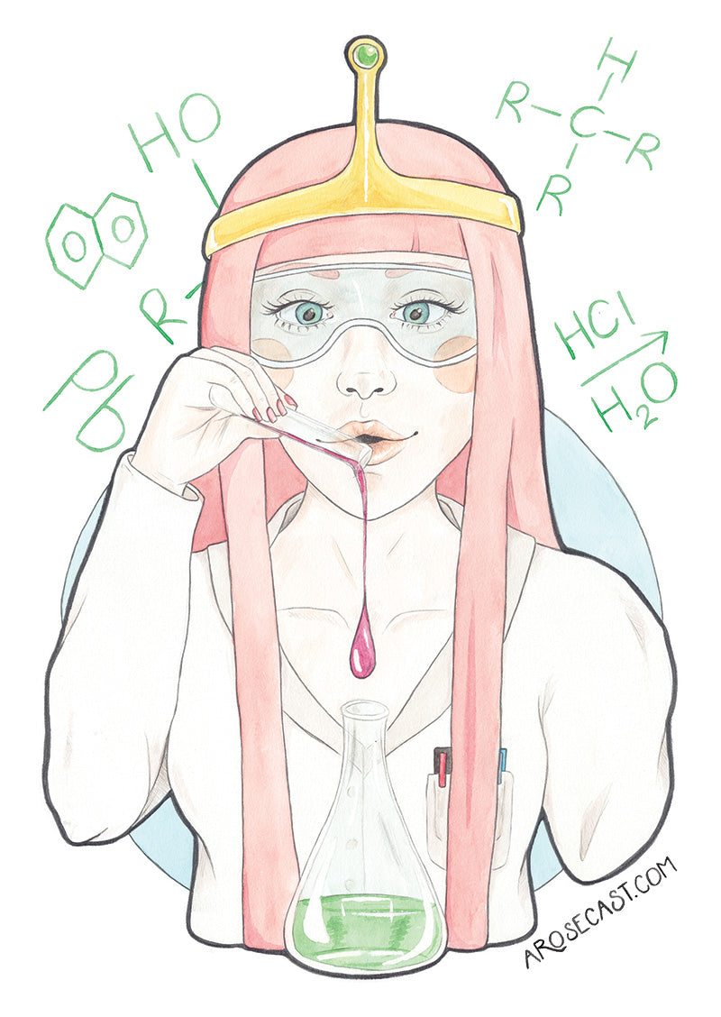 Watercolor illustration of Princess Bubblegum from Adventure Time by illustrator / artist Karen Muray of A Rose Cast