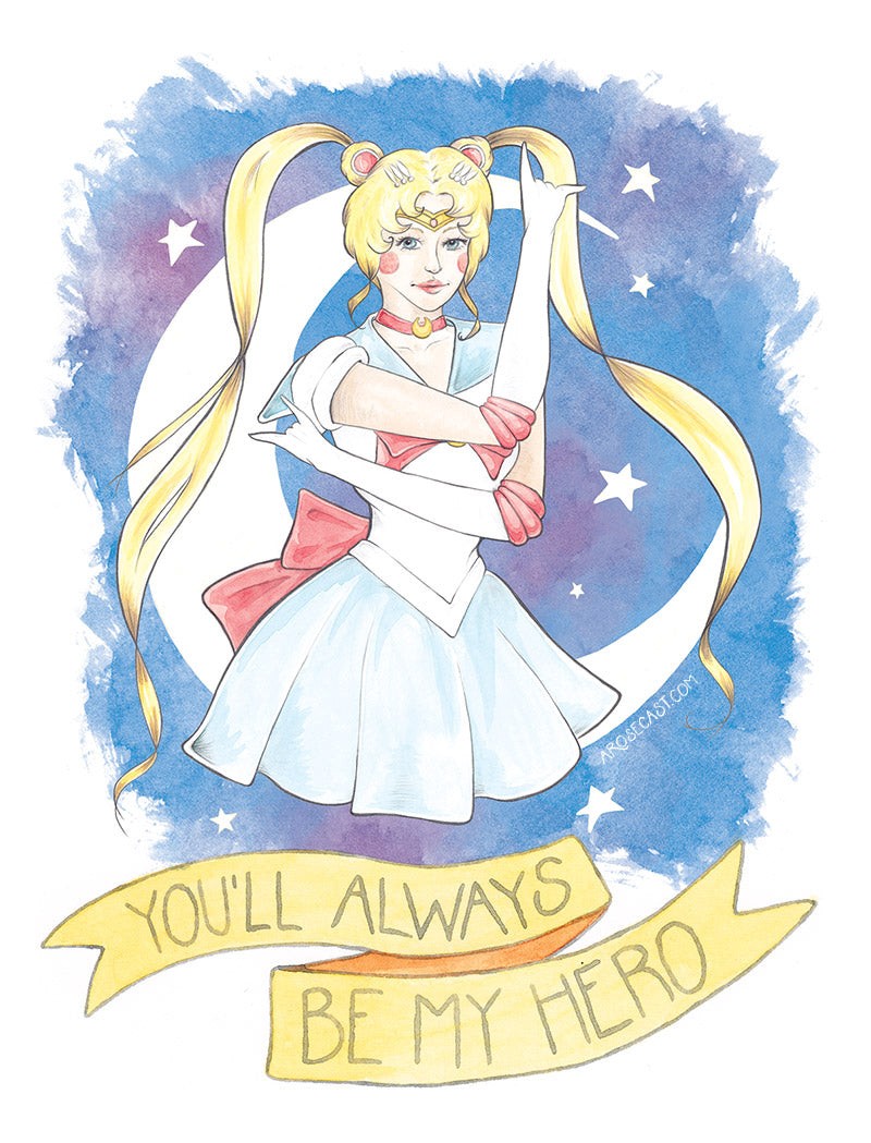 Watercolour Fan Art Illustration of Usagi Tsukino from manga/anime Sailor Moon