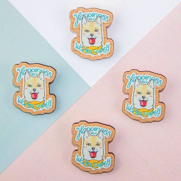 A wooden brooch for dog lovers on Instagram
