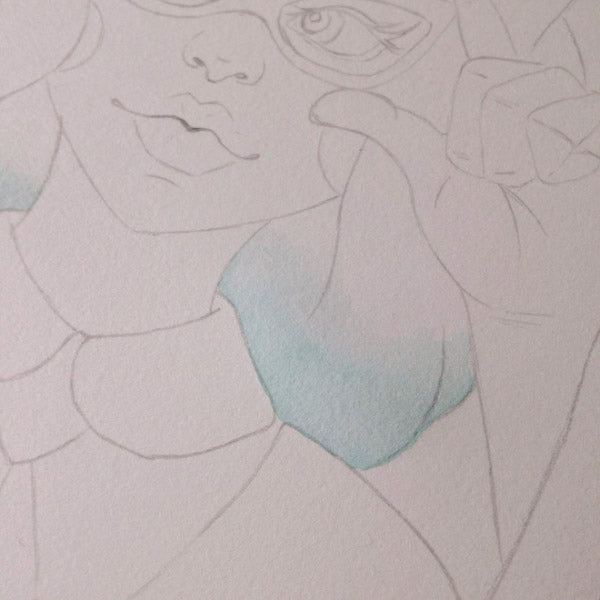 Creating blue ombre hair for a new portrait illustration I'm using for a greeting card on Instagram