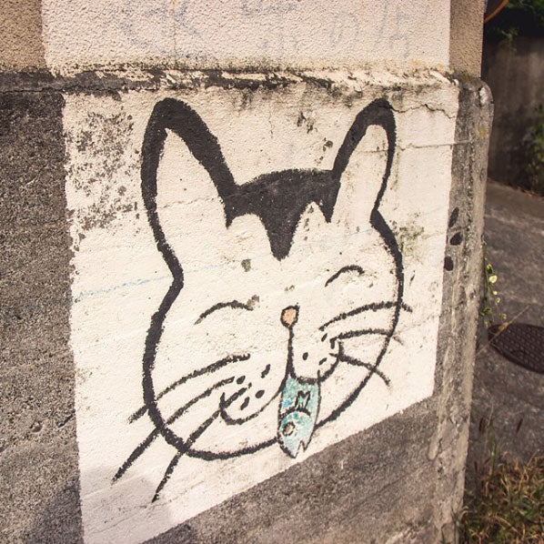 Graffiti of a cat in Kamakura, Japan on Instagram
