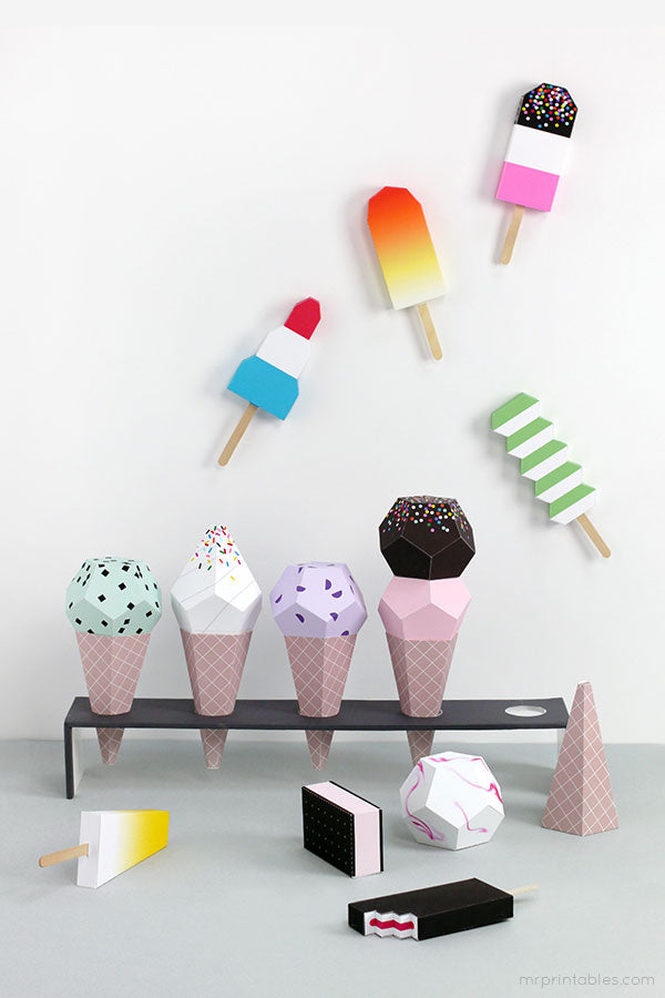 Printable Paper Ice Creams and Lollies