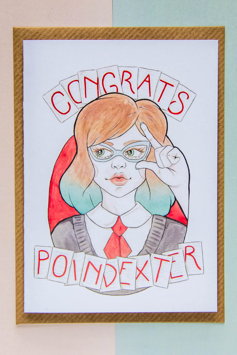 Congrats, Poindexter - Minerva, a Nerd in Vintage Glasses, as a greeting card / stationery for passing exams / tests by Karen Murray of A Rose Cast