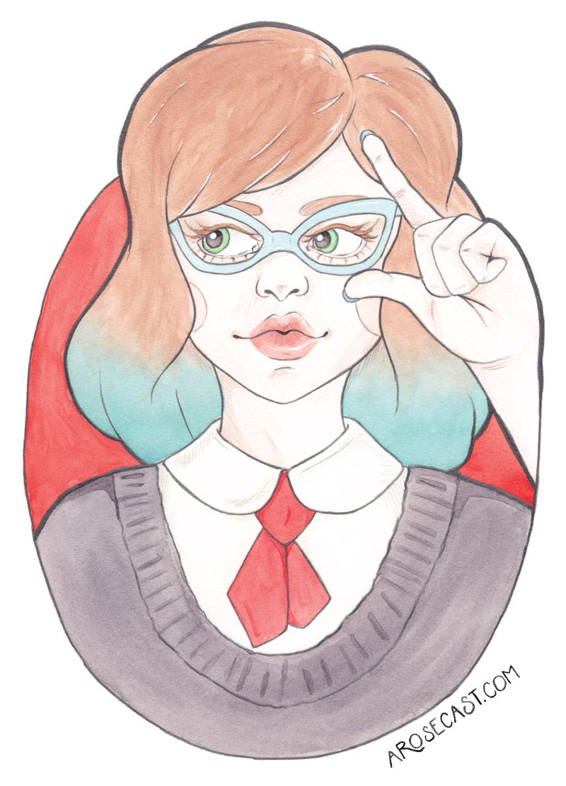 Minerva - Watercolour Illustration of a Nerd in Vintage Glasses by Karen Murray of A Rose Cast
