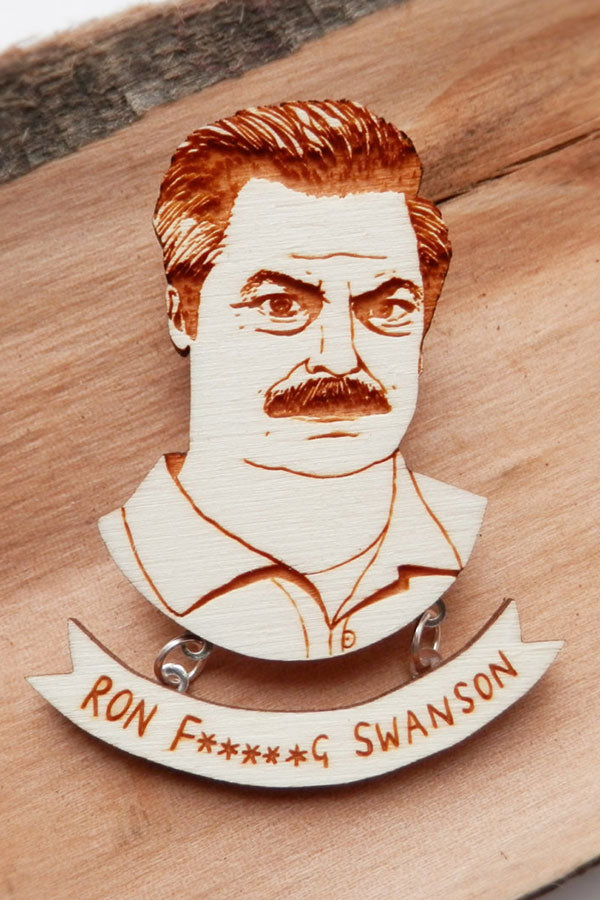 Parks & Recreation Ron Swanson Wooden Brooch