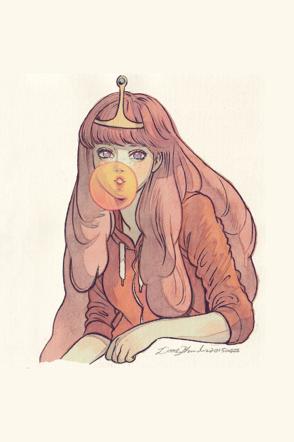 Princess Bubblegum from Adventure Time blowing a bubble illustration by Little Thunder