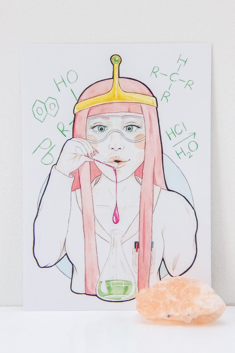A6 watercolor illustration Art Print of Princess Bubblegum from Adventure Time on Etsy