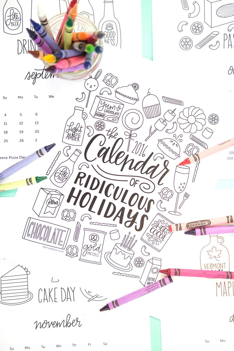 Download these free printable 2016 Coloring Calendar of Ridiculous Holidays | Freebie | Downloadable