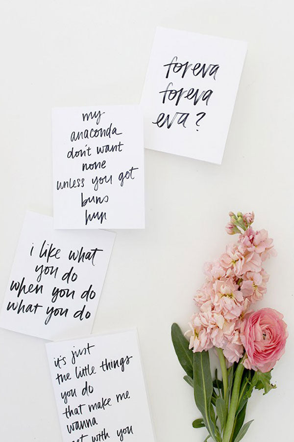 DIY Printable 90s Rap Calligraphy Lyric Valentines - Free Download