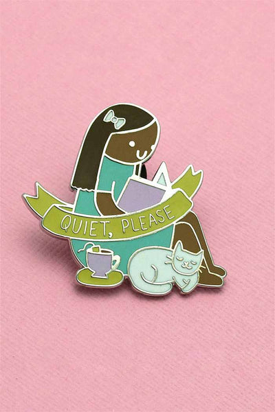 Quiet Please - Girl Reading, Drinking Tea Pin