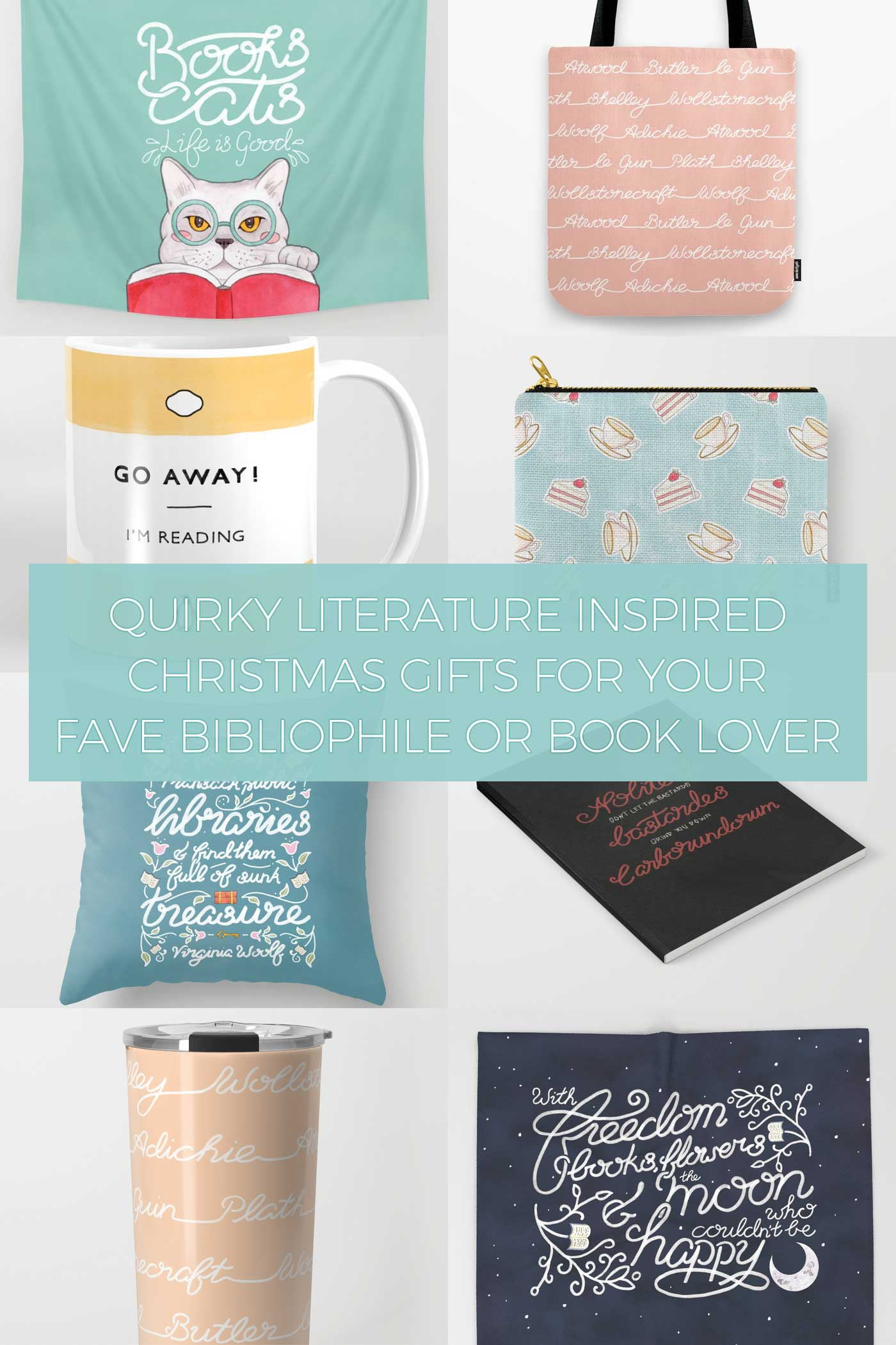 Quirky Literature Inspired Christmas Gifts for your Favourite Bibliophile or Book Lover on Society6, Redbubble and Art Wow // Wish List