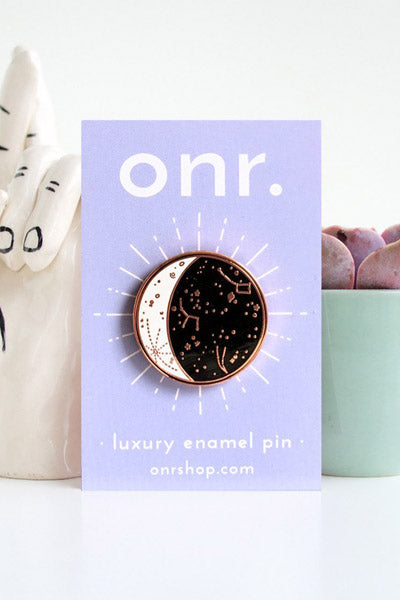 Rose Gold Constellation Moon Phase Enamel Pin by OH NO Rachio!