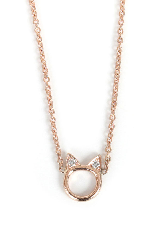 Rose Gold & White Diamond Kitty Face Necklace by Catbird and Hortense