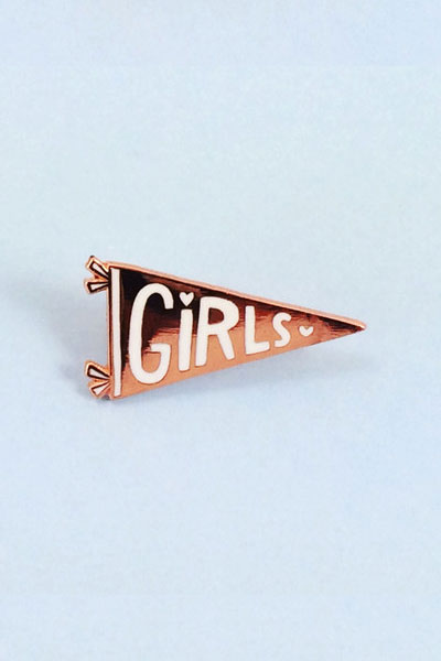 Rose Gold and White Enamel Girls Pennant Pin