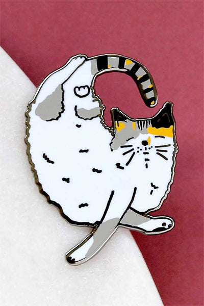 Sleeping Calico Cat Enamel Pin
