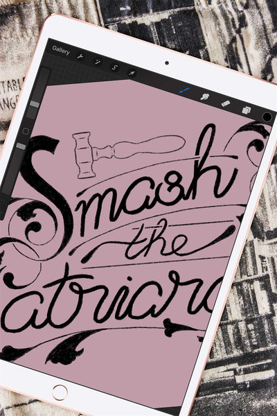 "Lettering illustration of the feminist quote ""Smash the Patriarchy"""