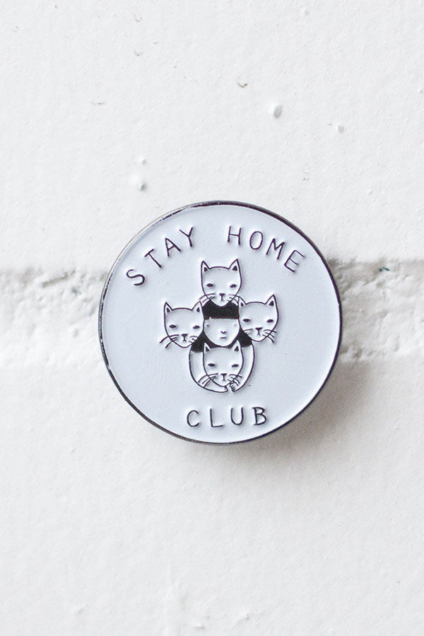 Stay Home Club Cat Enamel Lapel Pin