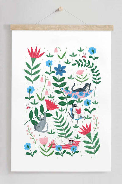 Summer Kitties Floral Cat Art Print By Holly Maguire
