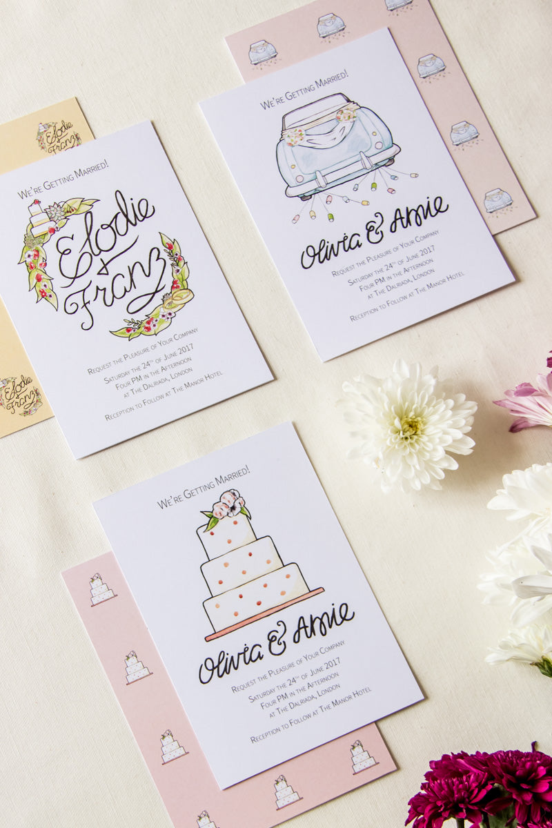 Buy Watercolour Wedding Stationery Suites, by illustrator / artist Karen Murray of @arosecast