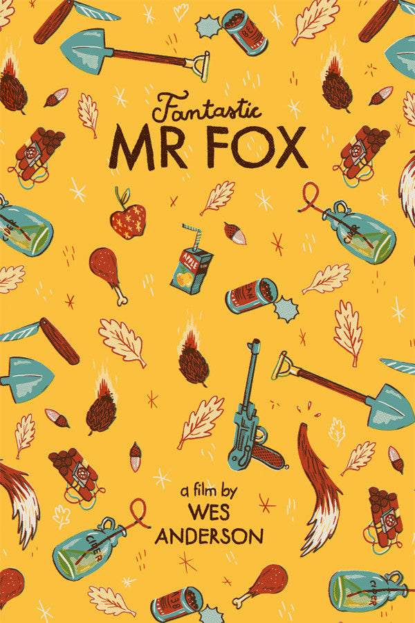 Illustrated Wes Anderson's Fantastic Mr. Fox Poster by Andrés Lozano