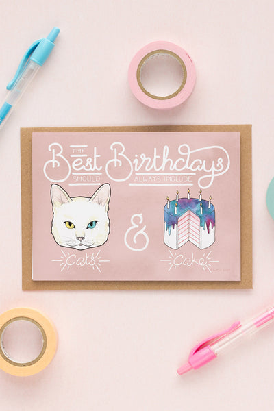 Best Birthdays Include Cats & Cake Card - A Rose Cast