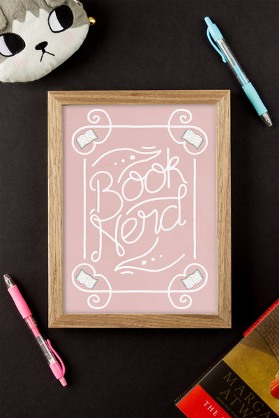 Book Nerd Illustrated Art Print