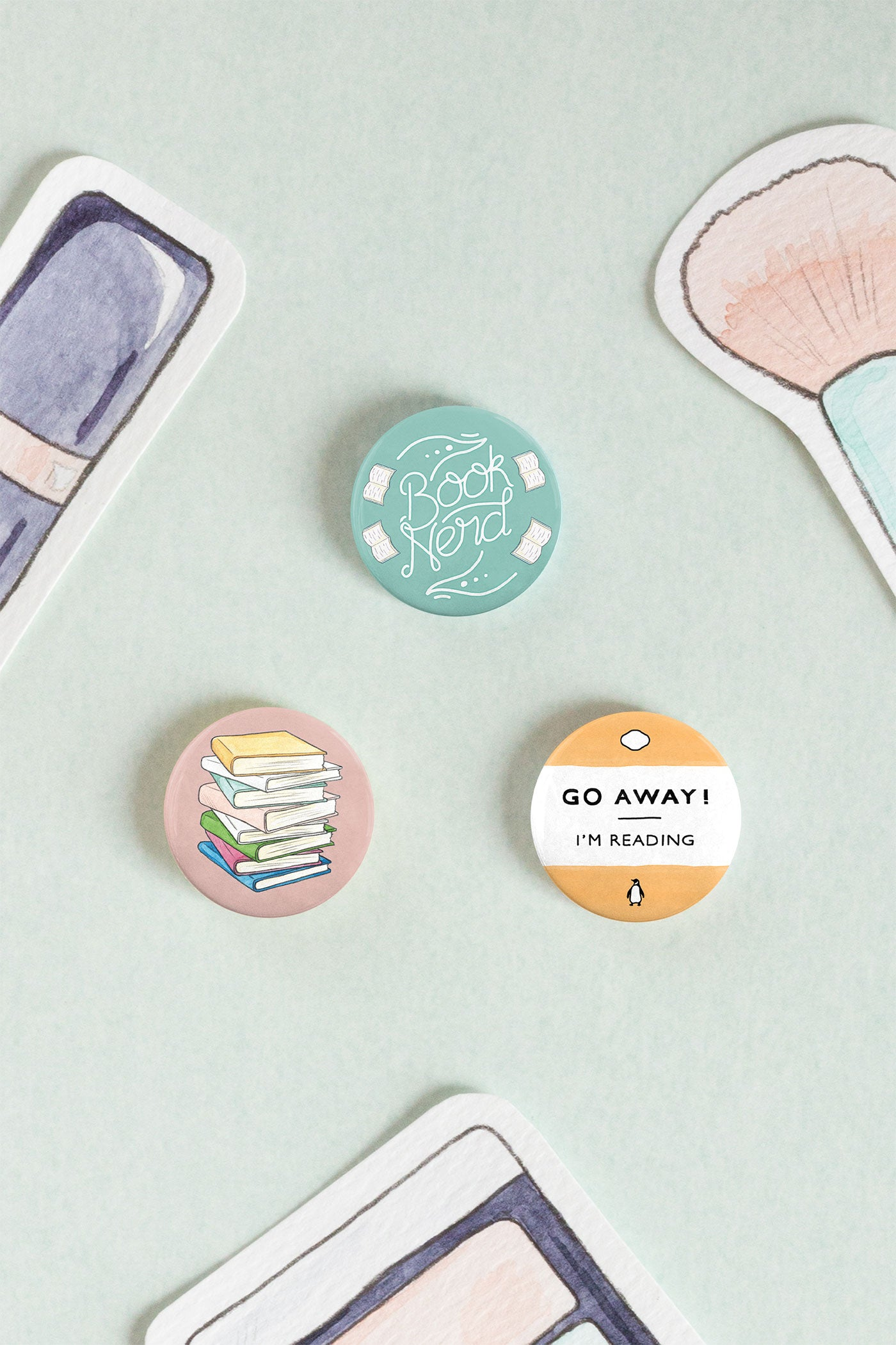 Book Nerd / Lover Pin-back Button Badges