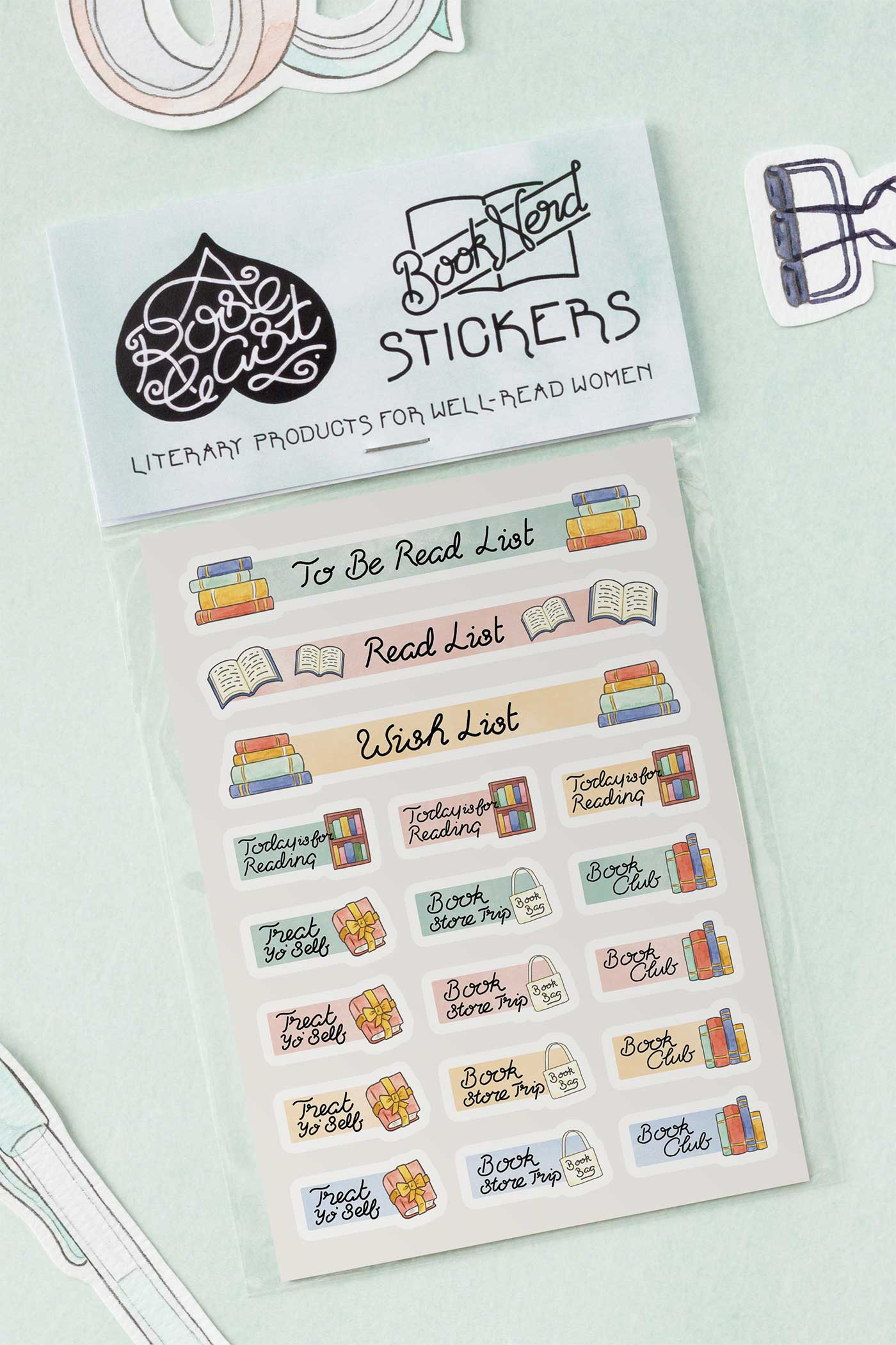 Bookish Reading Journal / Planner Kiss-Cut Vinyl Stickers - A Rose Cast