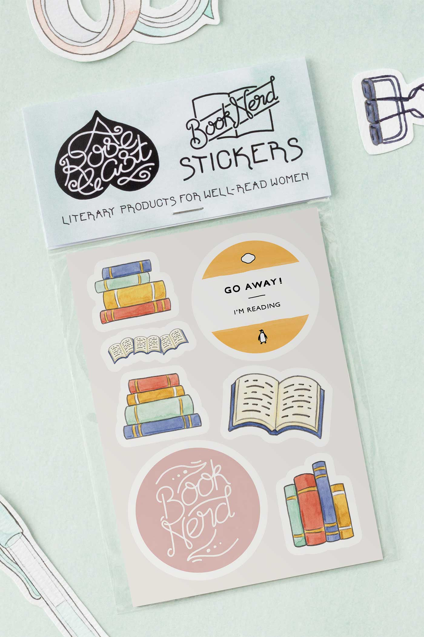 Bookish Bibliophile Book Lover Kiss-Cut Vinyl Stickers