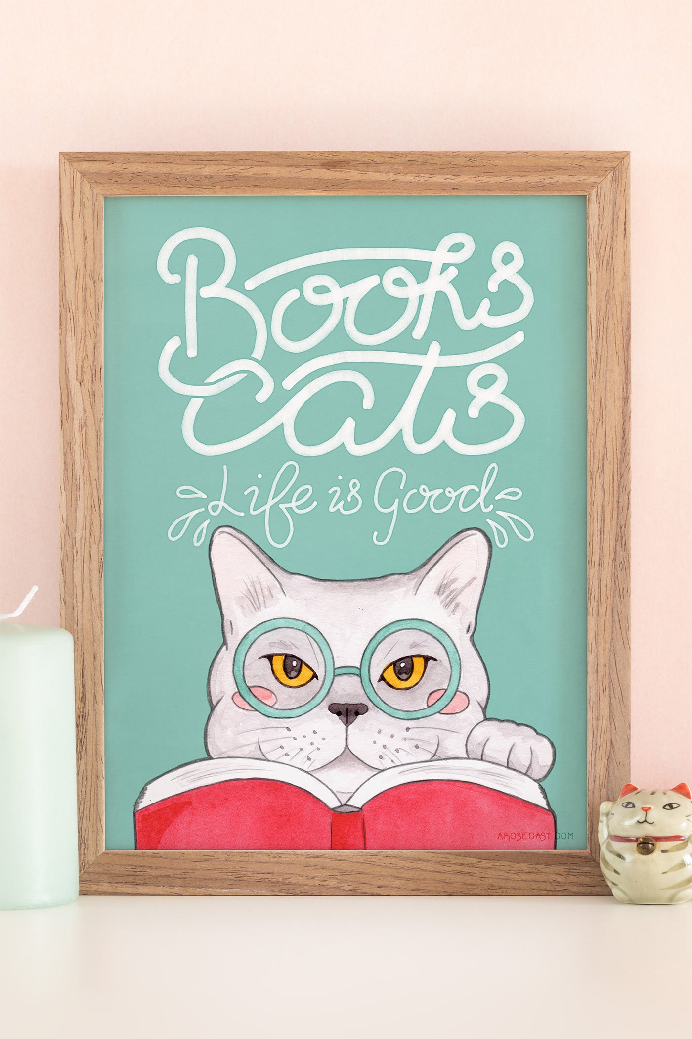 Books, Cats, Life is Good / Edward Gorey Quote Illustrated Art Print - A Rose Cast