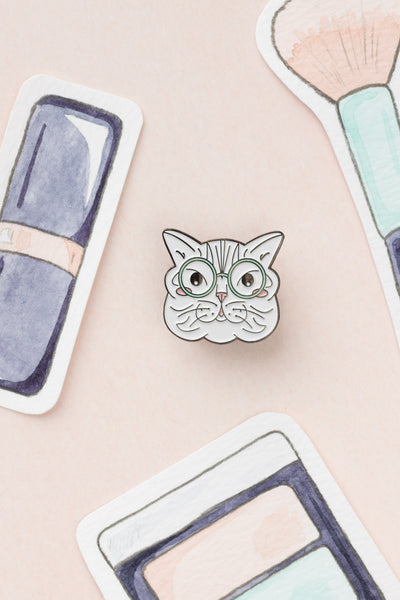 Grey Striped Kitty Cat with Blue Glasses Enamel Lapel Pin - A Rose Cast