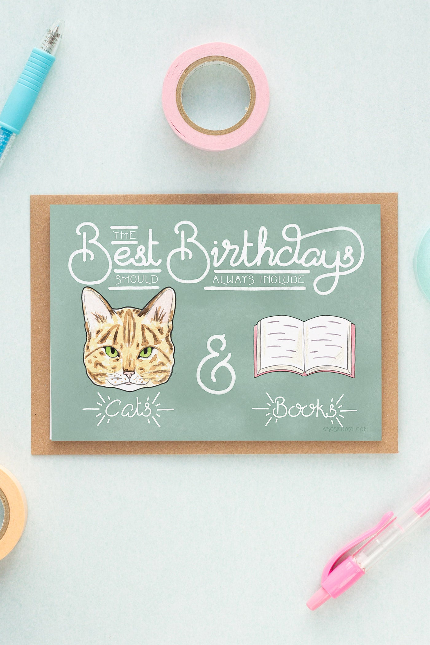 Best Birthdays Include Cats & Books Birthday Card
