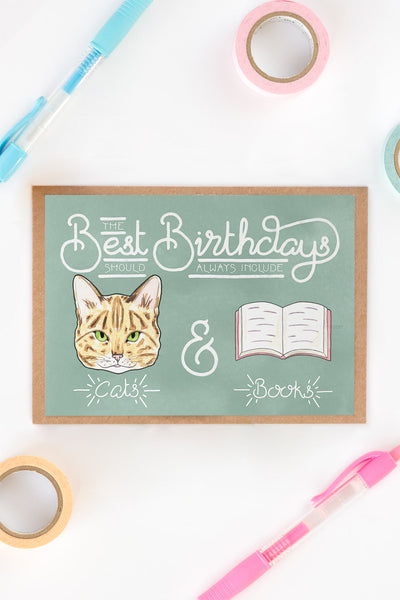Best Birthdays Include Cats & Books Card