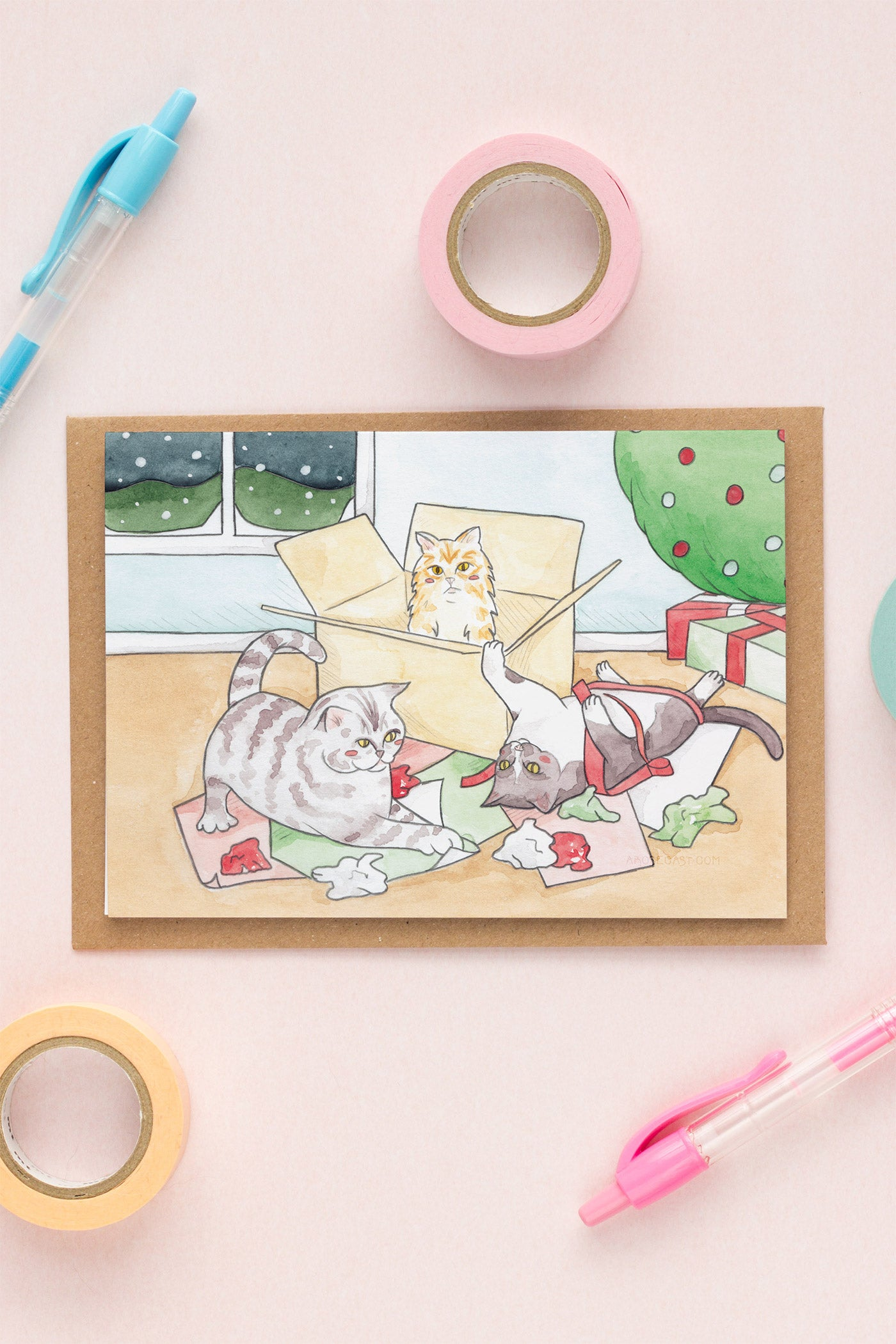 Watercolour Illustrated Christmas Cards // Cats in Boxes with Wrapping Paper & Hot Chocolate