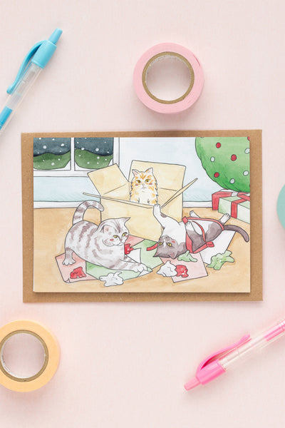 Cats & Christmas / Happy Holiday Greeting Card - A Rose Cast