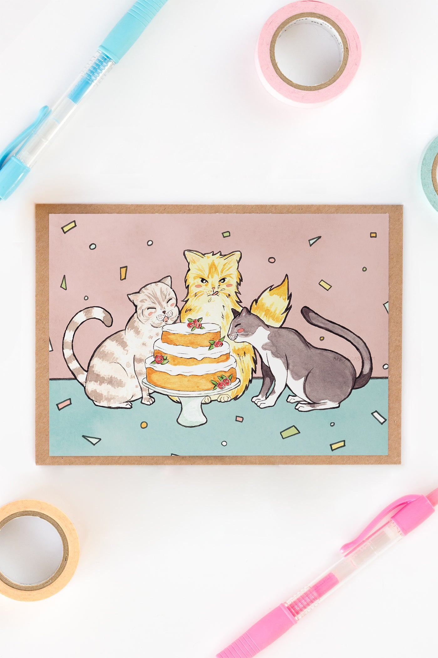 Cats & Cake Birthday / Friendship Card - A Rose Cast