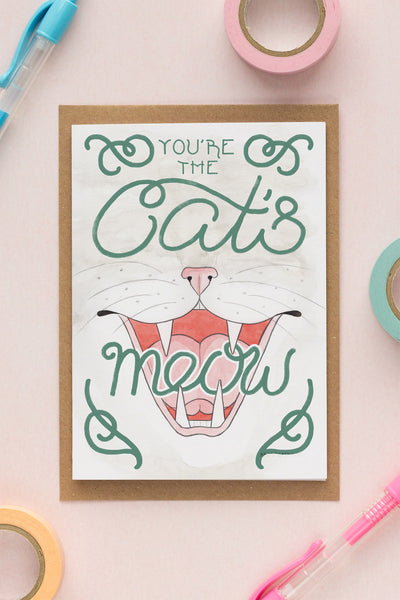You're the Cat's Meow Birthday / Friendship Card - A Rose Cast