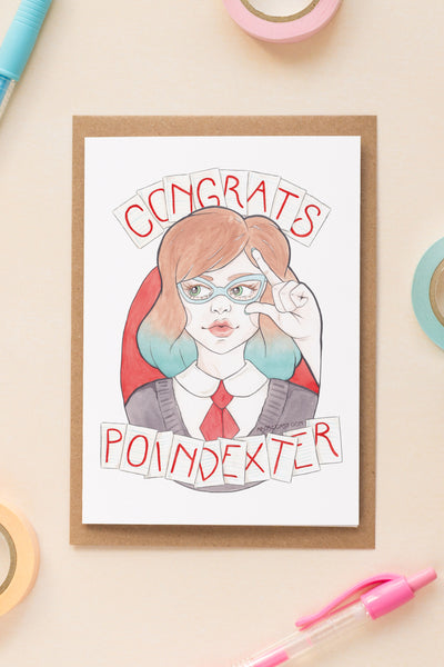 Nerdy Minerva in Vintage Glasses Congrats, Poindexter Card