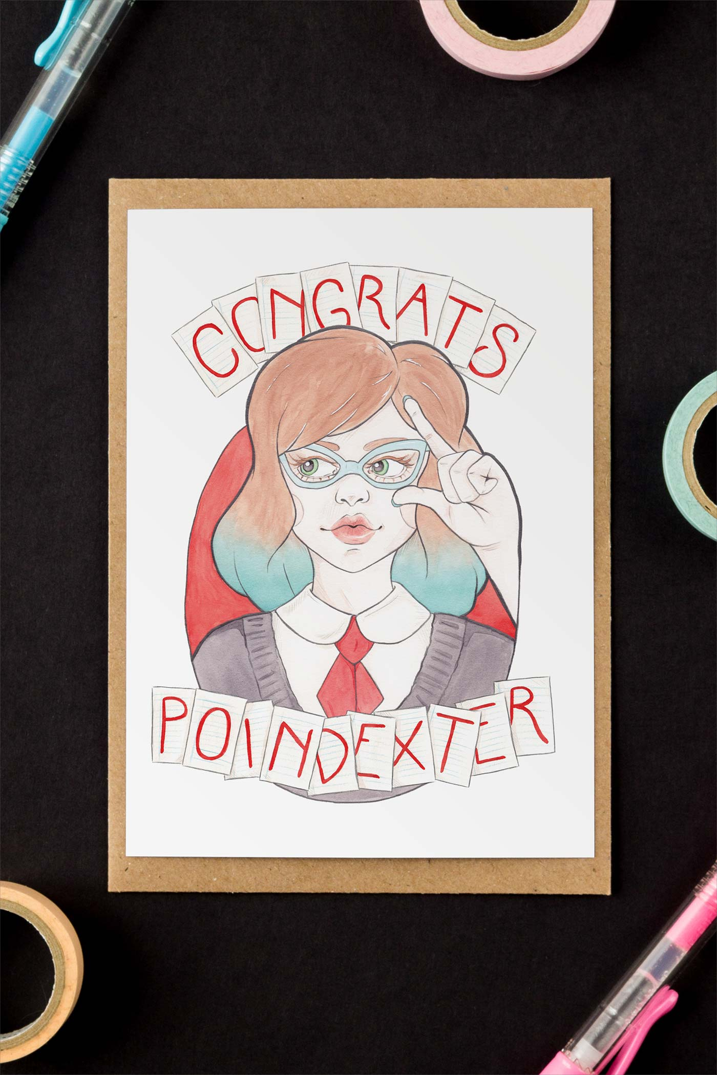 Nerdy Girl in Vintage Glasses Congrats, Poindexter Card - A Rose Cast