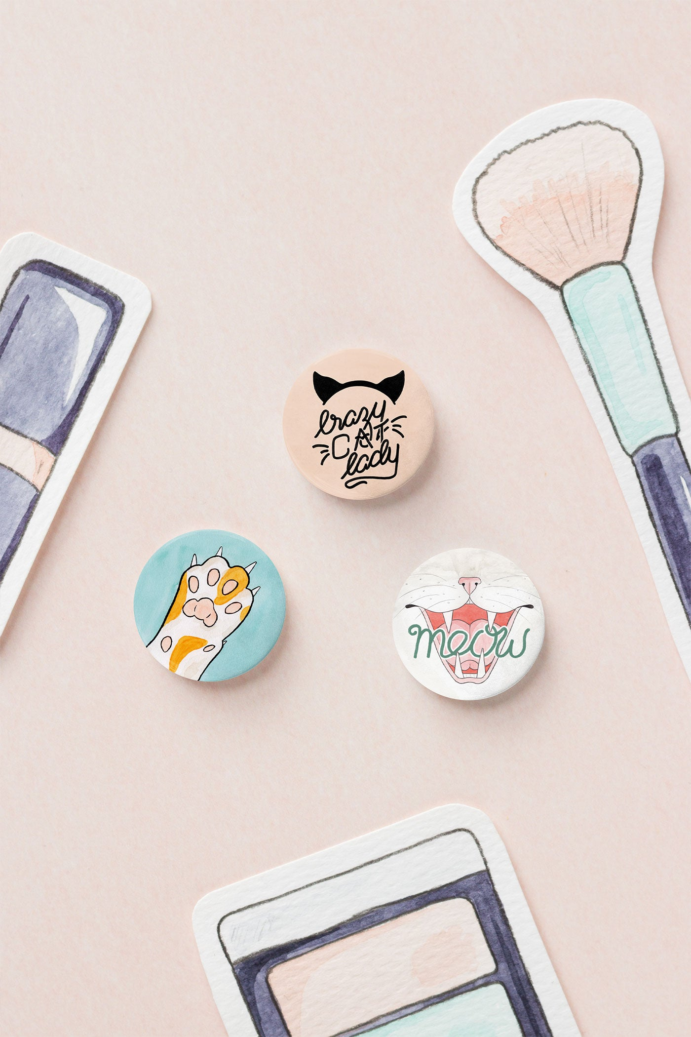 Crazy Cat Lady Pin-Back Button Badges - A Rose Cast